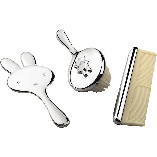 Miffy Brosse, peigne et miroir enfant argent personnalisable