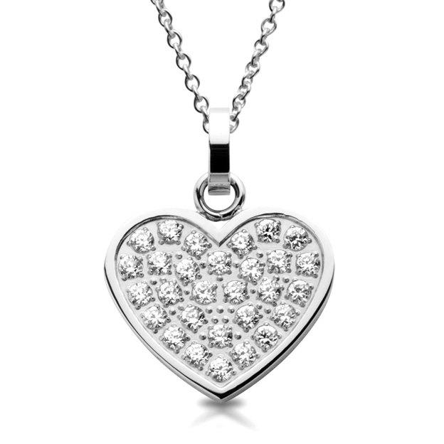 Pendentif cœur en acier inoxydable or et argent incrusté de zircon