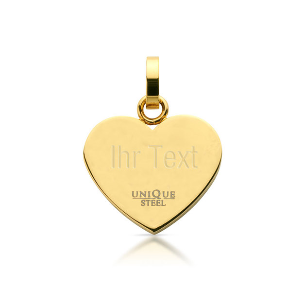 Pendentif cœur en acier inoxydable or et argent incrusté de zircon doré