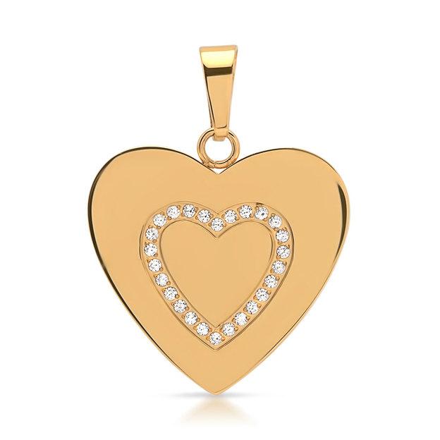 Pendentif en cœur serti de zircons doré