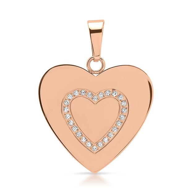 Pendentif en cœur serti de zircons rosé