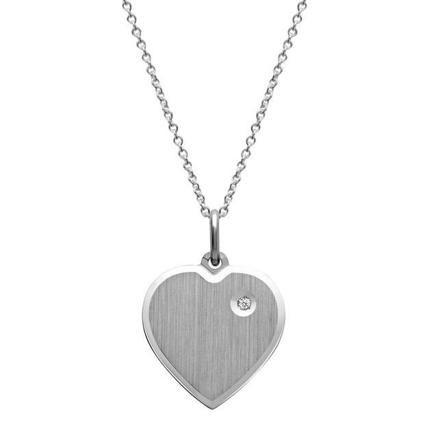 Personalisierbarer Anhänger Herz mit Steinbesatz versilbert und vergoldet