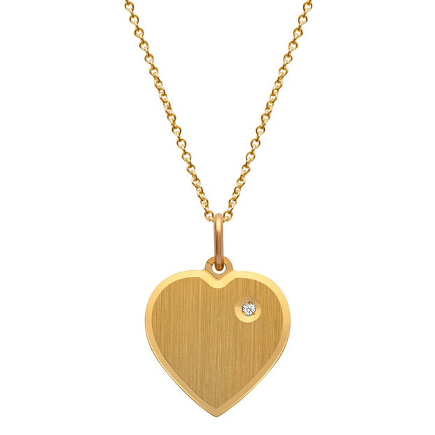 Pendentif cœur personnalisable avec pierre incrustée doré