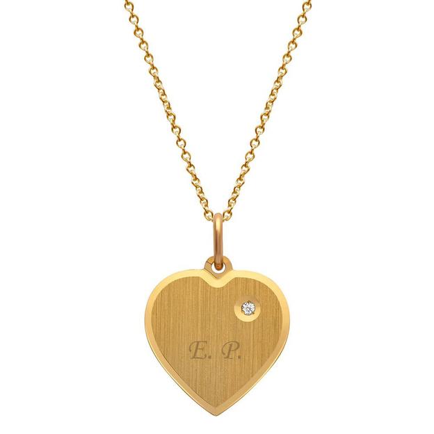 Personalisierbarer Anhänger Herz mit Steinbesatz vergoldet