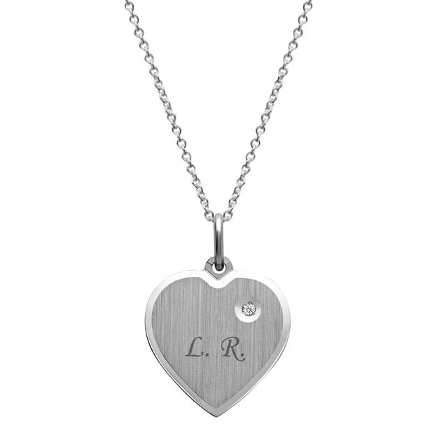 Pendentif cœur personnalisable avec pierre incrustée argenté