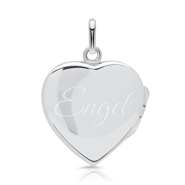 Personalisierbarer Anhänger Medaillon Herz Vintage in Silber
