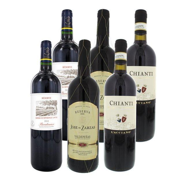 Personalisierbare Weintruhe im Kolonialstil mit 6 europäischen Weinen