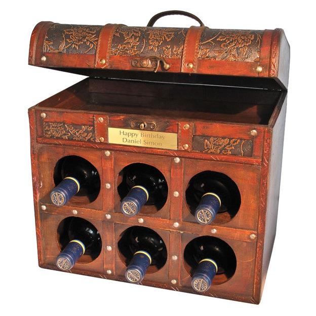 Coffre de 6 vins style colonial personnalisable