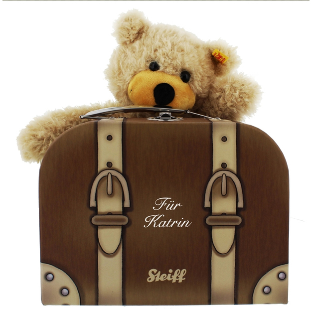 Nounours Steiff Charly dans sa valise  personnalisable