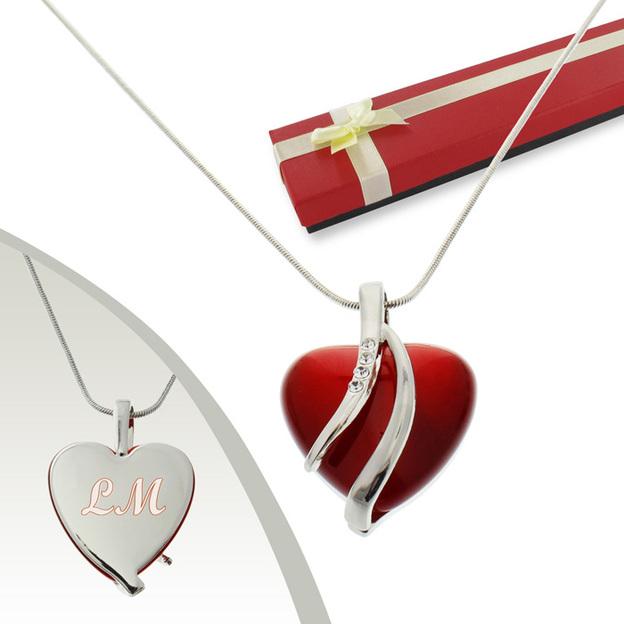 Personalisierbarer Anhänger Herz mit Swarovskikristallen
