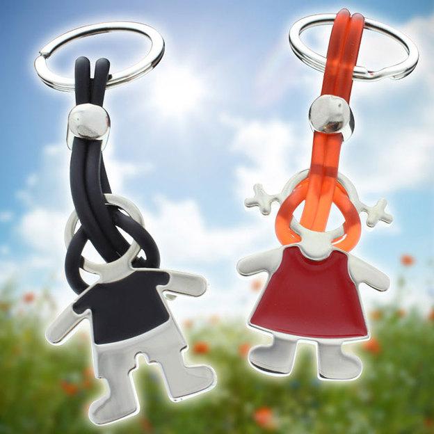 Personalisierbares Schlüssel-Duett Freudensprünge