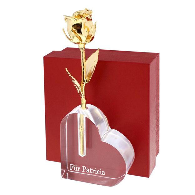 Rose dorée 15 cm avec vase personnalisable