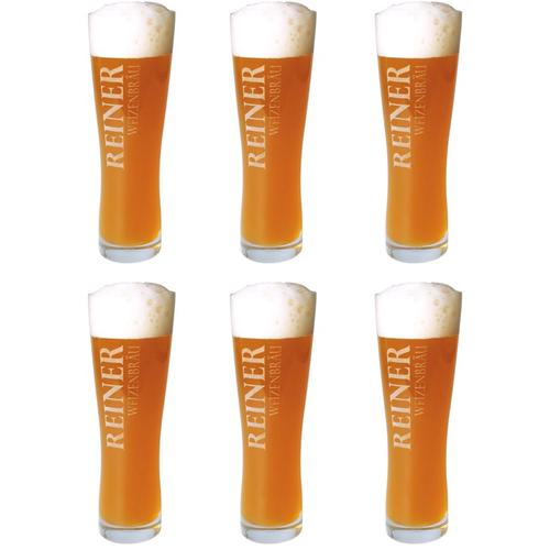 Image of Bier-Glas 6er Set mit Gravur Weizen