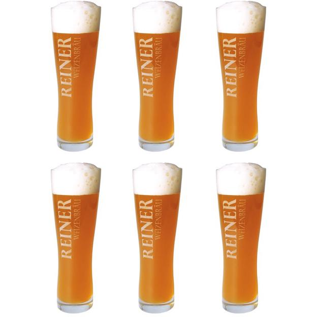 Bier-Glas 6er Set mit Gravur Weizen
