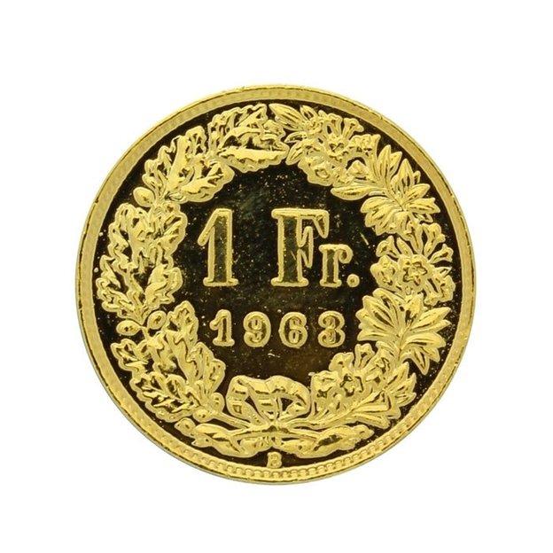 Pièce de 1 franc suisse plaqué or 1943-2012