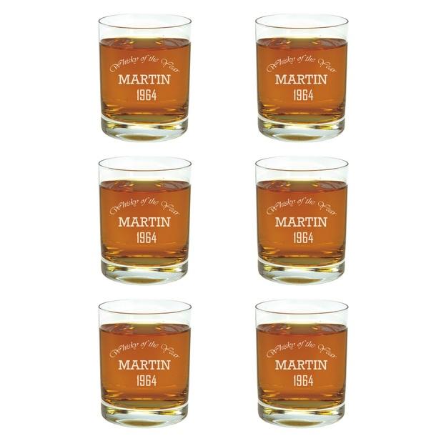 Trink-Glas 6er Set mit Gravur Whisky