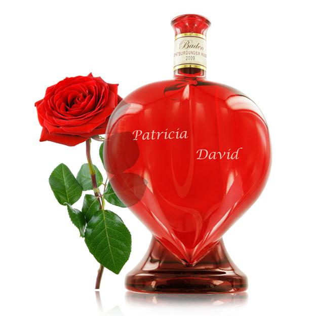 Herz Weinflasche