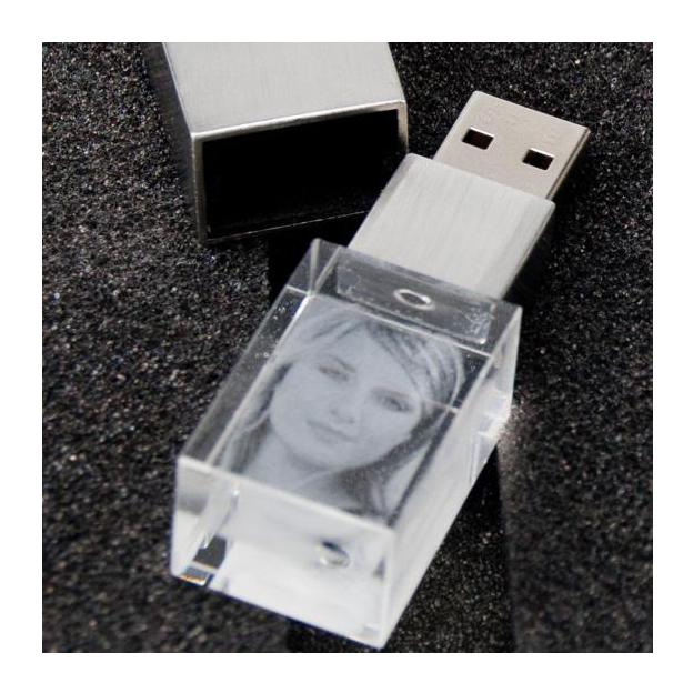 Clé USB Cristal à gravure photo 4 Go