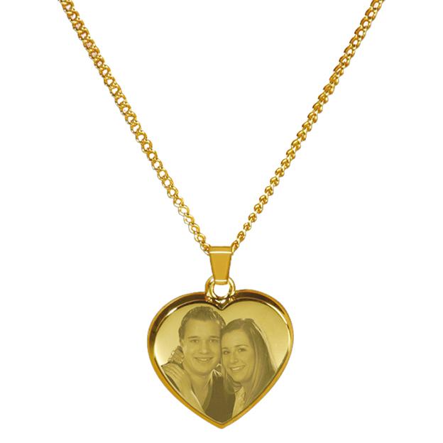 Foto auf Metall - Kette + Meda gold Herz