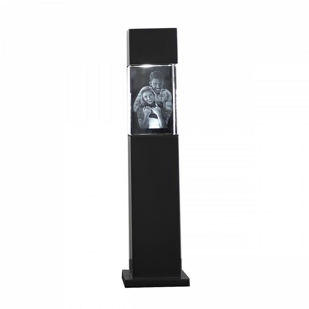 Persönliche 3D Leuchtsäule schwarz mit Glasblock 90x60x60 hoch