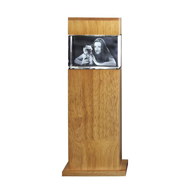 Persönliche 3D Leuchtsäule Holz mit Glasblock 90x60x60 quer