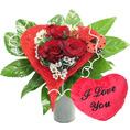 Bouquet coeur de rose avec coeur de velours