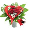 Bouquet coeur de rose avec coeur carillon