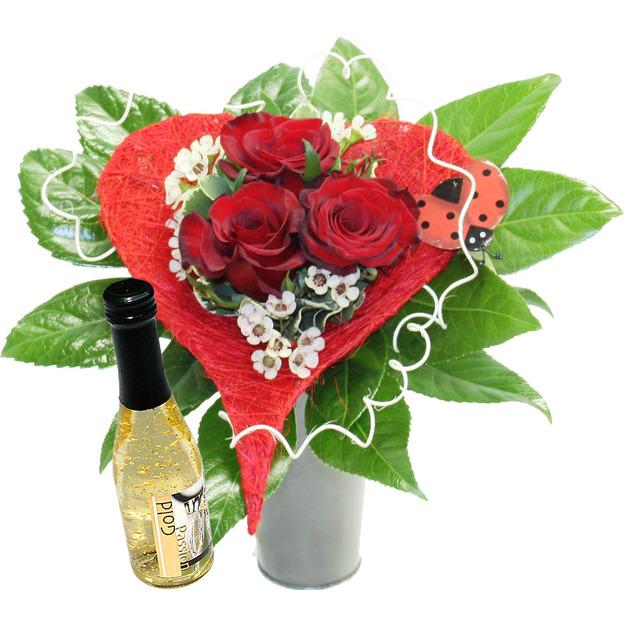 Bouquet coeur de rose avec crémant à l'or