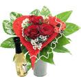 Herz Blumenstrauss mit Blattgold Sekt piccolo