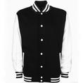 Veste College personnalisable blanc/noir, Grösse XL