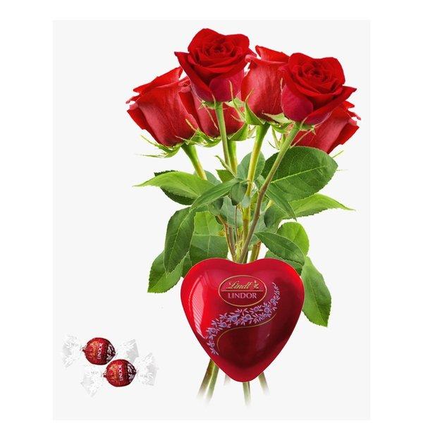 Rosen rot mit Lindor Geschenkebox Gr. 05er Bund