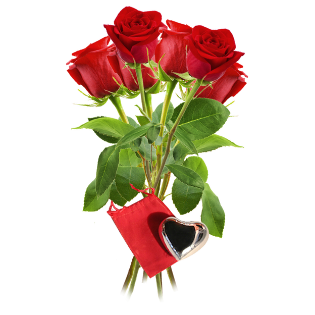 Rosen rot mit Klangherz Gr. 03er Bund