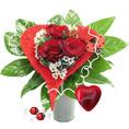 Bouquet coeur de rose avec chocolats Lindor