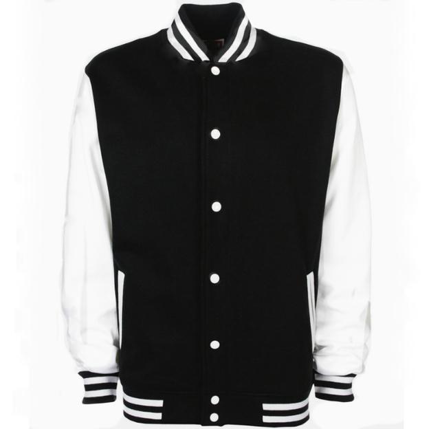 Veste College personnalisable blanc/noir, Grösse 140