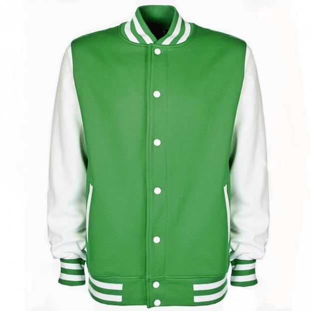 Veste College personnalisable Vert/Blanc, Grösse 152