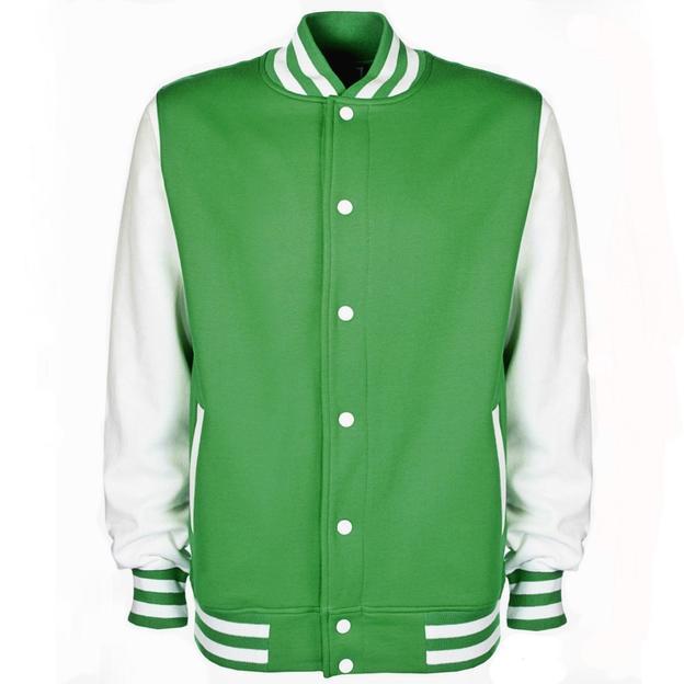 Veste College personnalisable vert/blanc, Grösse L