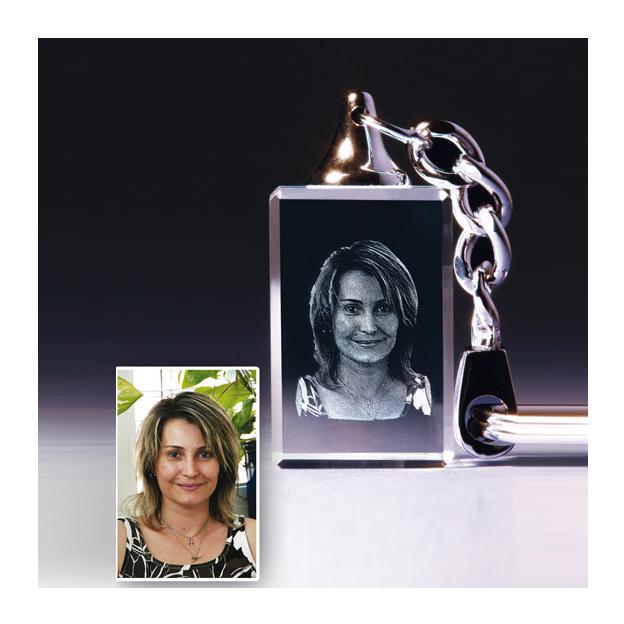 Porte clé Cristal avec photo gravée