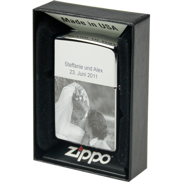 Personalisierbares Zippo Feuerzeug mit Fotogravur