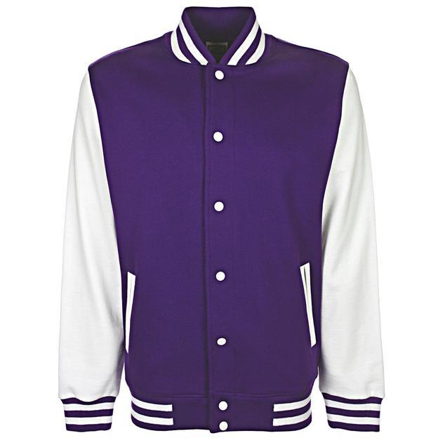 Veste College personnalisable violet/blanc, Grösse 128