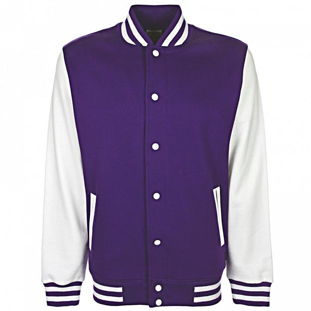 Veste College personnalisable violet/blanc, Grösse 152