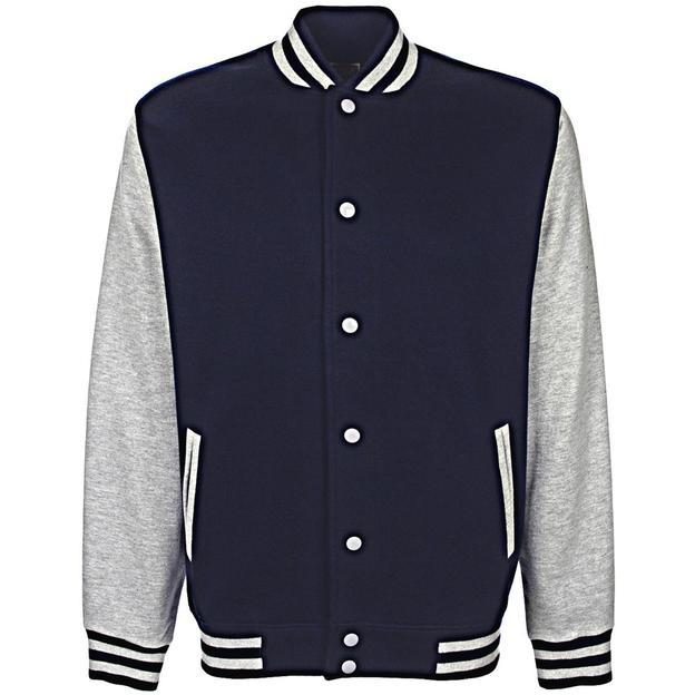 Veste College personnalisable bleu-gris, Grösse L