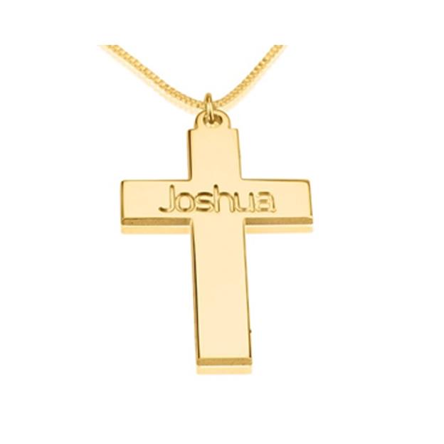 Pendentif croix personnalisé argent sterling doré