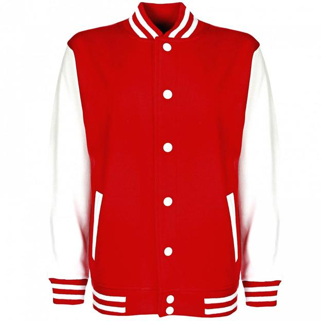 Veste College personnalisable rouge/blanc, Grösse XL