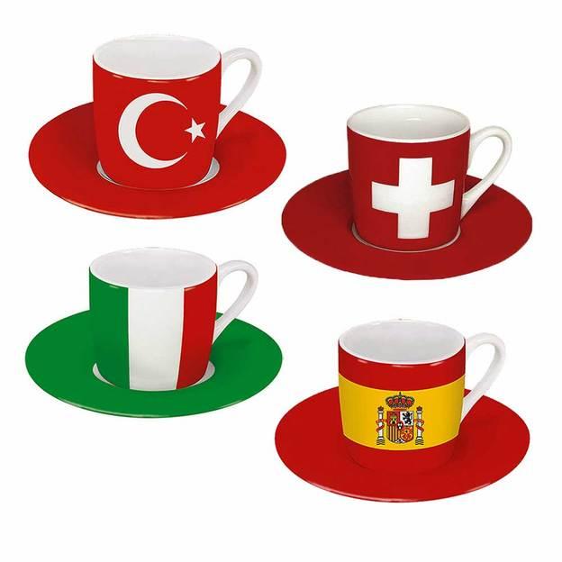 Tasses Espresso Drapeaux set de 2