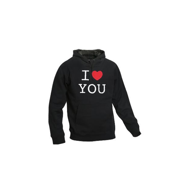 I Love Hoodie personnalisable Noir, Taille S