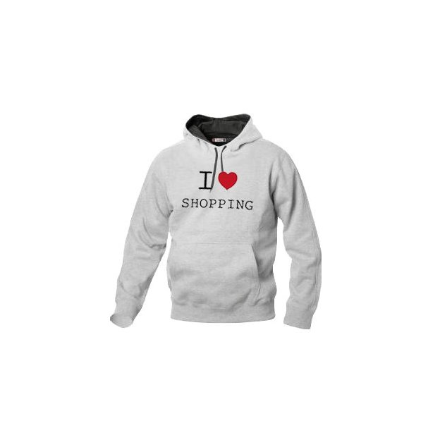 I Love Hoodie personnalisable Gris clair, Taille M