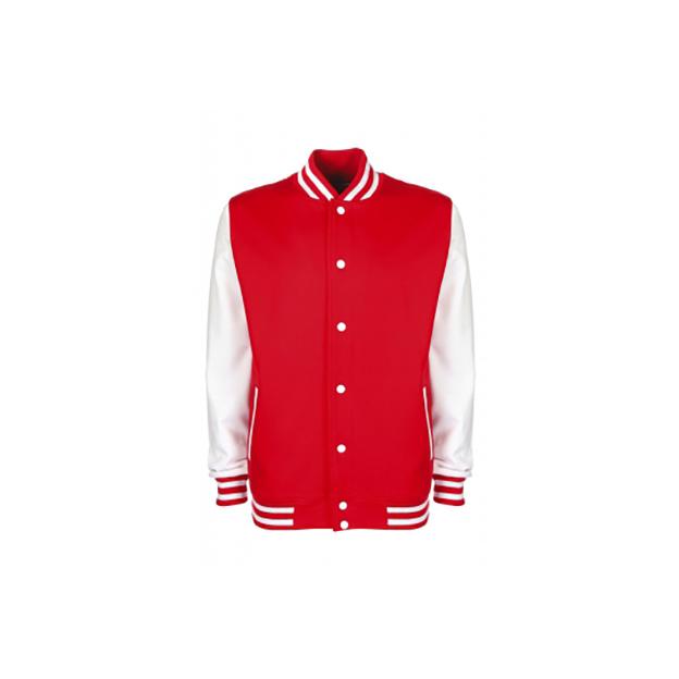 Personalisierbare College Jacke rot-weiss, Grösse L