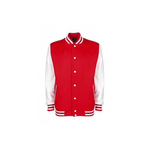 Personalisierbare College Jacke rot-weiss, Grösse XL