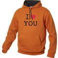 I Love Hoodie personnalisable Orange, Taille M