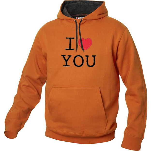 I Love Hoodie personnalisable Orange, Taille XL
